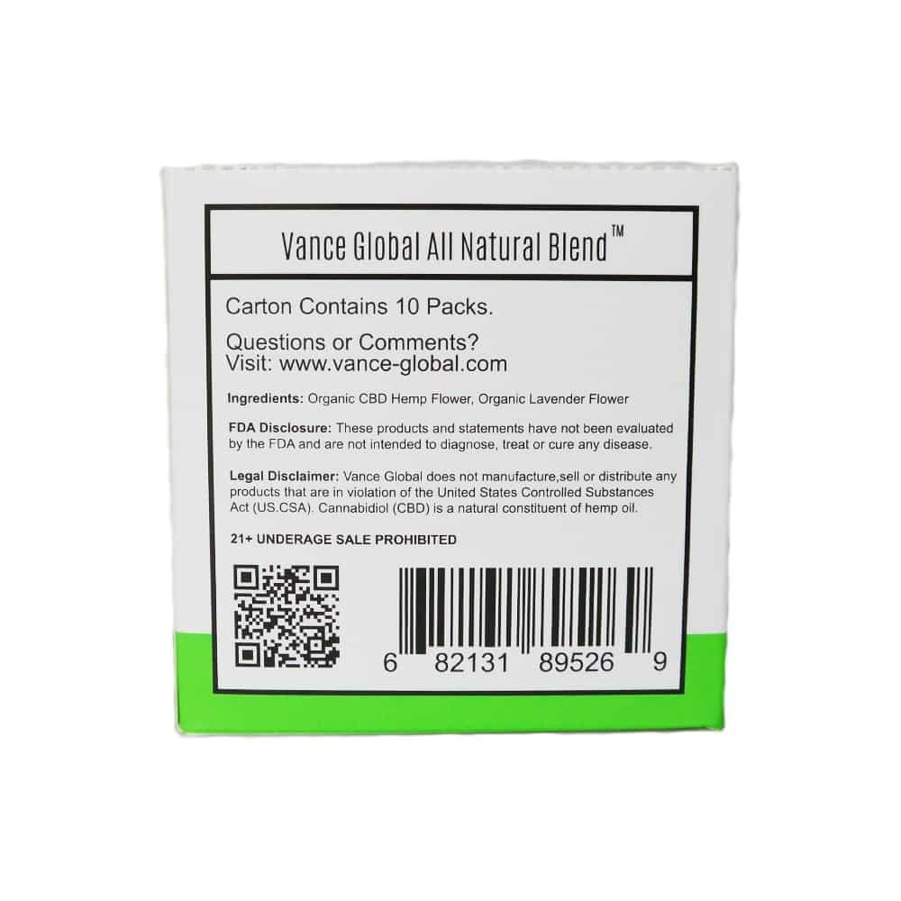 Vance Global All Natural Blend CBD Cigarettes Carton Label Ingredients Pack product photo back
